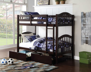 ACME Heartland Twin/Twin Bunk Bed Espresso - 02554-Bunk Beds-HipBeds.com