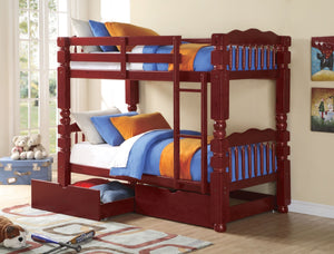 ACME Benji Twin/Twin Bunk Bed Cherry - 02570-Bunk Beds-HipBeds.com