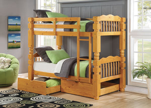 ACME Benji Twin/Twin Bunk Bed Honey Oak - 02575-Bunk Beds-HipBeds.com