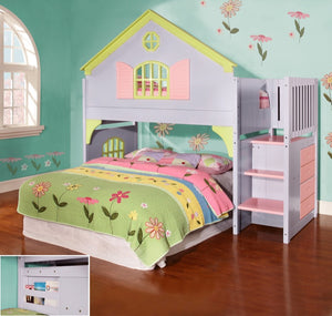 Donco Kids Doll House Stairway Bunk Bed Multi 0300-Bunk Beds-HipBeds.com