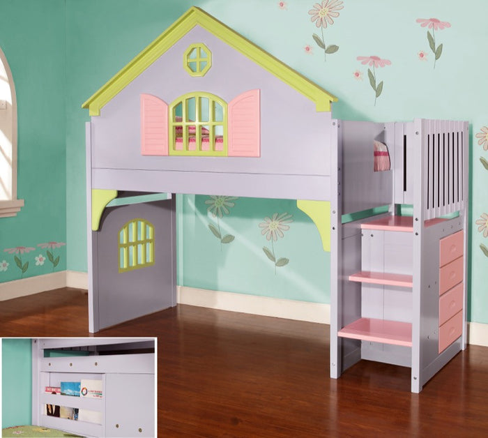 Donco Kids Doll House Stairway Bunk Bed Multi 0300