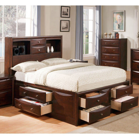 ACME Manhattan Eastern King Bed w/Storage Espresso - 04067EK-Platform Beds-HipBeds.com