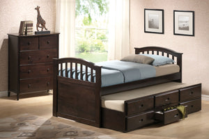 ACME San Marino Twin Captain Bed & Trundle w/3 Drw Dark Walnut - 04990-Bookcase Beds-HipBeds.com
