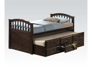 ACME San Marino Full Captain Bed & Trundle w/3 Drw Dark Walnut - 04993-Bookcase Beds-HipBeds.com