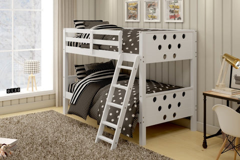Donco Kids T/T Circles Bunk Bed White 1001-TTW-Bunk Beds-HipBeds.com