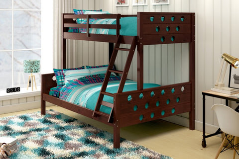 Donco Kids T/F Circles Bunk Bed Dark Cappucino 1002-TFCP-Bunk Beds-HipBeds.com