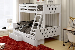Donco Kids T/F Circles Bunk Bed White 1002-TFW-Bunk Beds-HipBeds.com