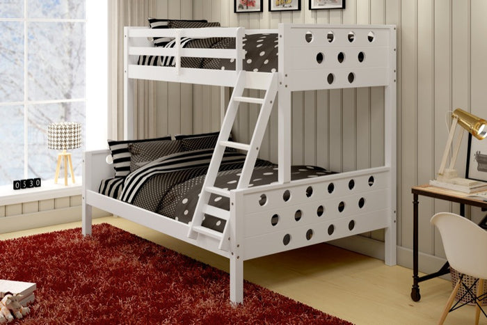Donco Kids T/F Circles Bunk Bed White 1002-TFW
