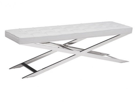 Zuo Modern Pontis Bench White - 100337-Benches-HipBeds.com