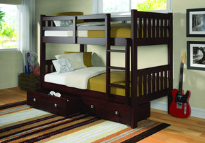 Donco Kids T/T Bunk Bed Dark Cappuccino 1010-3TTCP-Bunk Beds-HipBeds.com