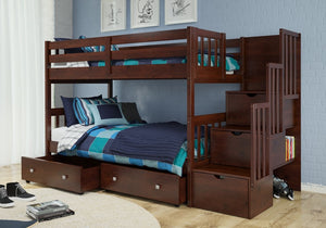 Donco Kids Twin/Twin Mission Staiway Bunk Bed 1019-TTCP-Bunk Beds-HipBeds.com