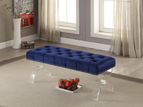 Meridian Ava Navy Velvet Bench - 102Navy-Benches-HipBeds.com