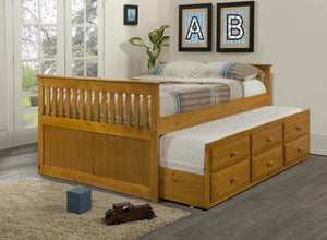 Donco Kids Full Mission Captains Bed Honey 103-FH-Bookcase Beds-HipBeds.com