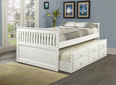 Donco Kids Full Mission Captains Bed White 103-FW-Bookcase Beds-HipBeds.com