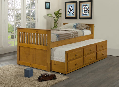 Donco Kids Twin Mission Captains Bed Honey 103-TH-Bookcase Beds-HipBeds.com