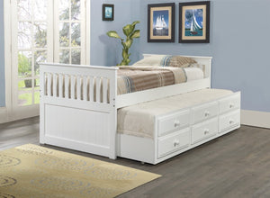 Donco Kids Twin Captains Trundle Bed White 103-TW-Bookcase Beds-HipBeds.com