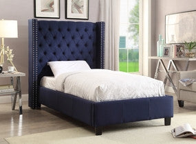 Meridian Ashton Navy Linen Full Bed - Ashtonnavy-F-Panel Beds-HipBeds.com