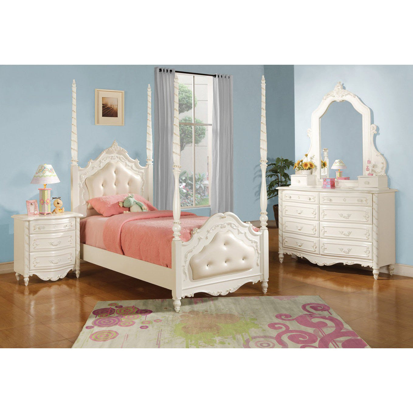 - ACME Pearl Twin Bed - Post & Tufted Pearl White - 11000T HipBeds.com