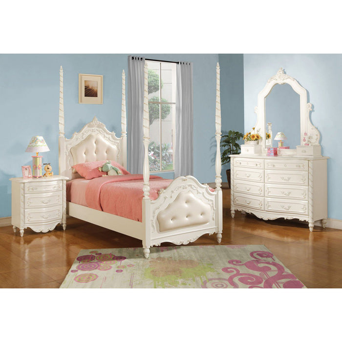 ACME Pearl Twin Bed - Post & Tufted Pearl White - 11000T