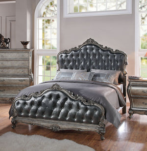 ACME Chantelle California King Bed Antique Platinum & Silver Gray Silk-Like Fabric - 20534CK-Panel Beds-HipBeds.com