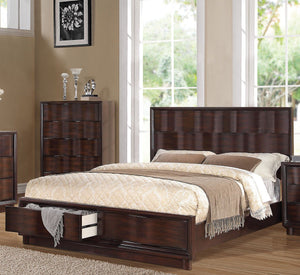 ACME Travell Eastern King Bed w/Storage Walnut - 20517EK-Panel Beds-HipBeds.com