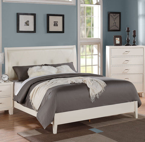 ACME Tyler Eastern King Bed (Padded HB) Cream PU & White - 22537EK-Panel Beds-HipBeds.com