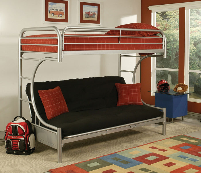 ACME Eclipse Twin XL/Queen/Futon Bunk Bed Silver - 02093SI