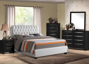 ACME Ireland II Eastern King Bed (Button Tufted) White PU - 25347EK-Platform Beds-HipBeds.com