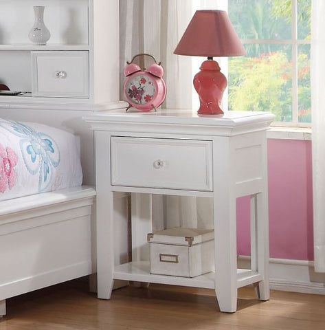 ACME Lacey White Nightstand With 1 Drawer - 30598-Nightstands-HipBeds.com