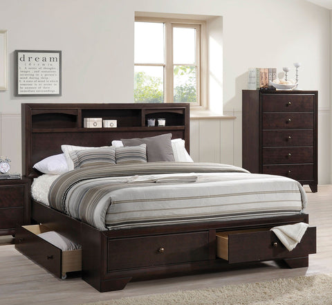 ACME Madison II Eastern King Bed w/Storage Espresso - 19557EK-Platform Beds-HipBeds.com