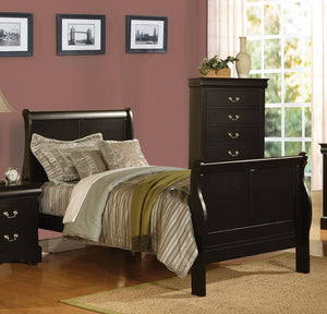 ACME Louis Philippe III Twin Bed Black - 19510T-Sleigh Beds-HipBeds.com