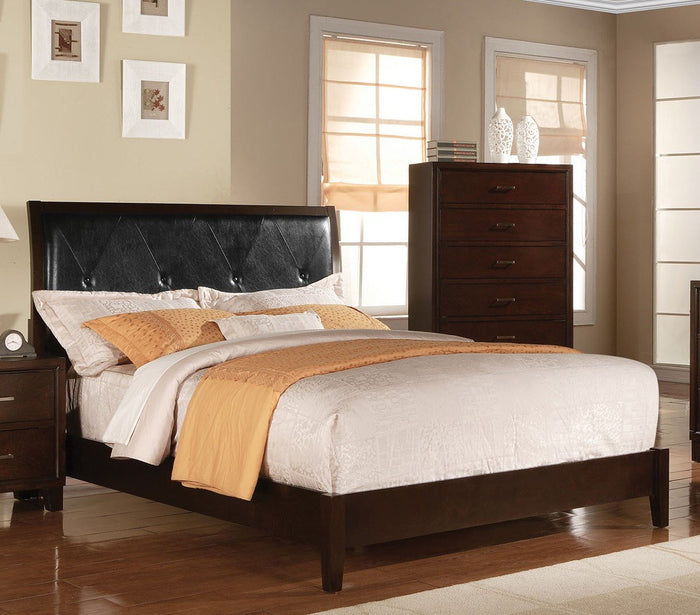 ACME Tyler Eastern King Bed (Padded HB) Black PU & Cappuccino - 19537EK