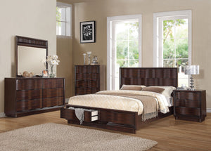 ACME Travell California King Bed w/Storage Walnut - 20514CK-Panel Beds-HipBeds.com