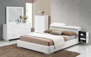 ACME Manjot California King Bed w/Build In 2NS White PU - 20414CK-Platform Beds-HipBeds.com