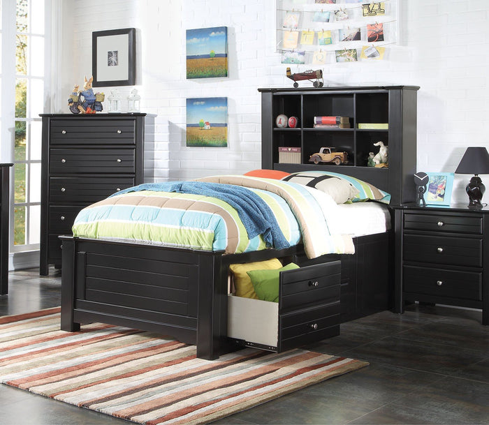 ACME Mallowsea Full Bed w/Storage Rail Black - 30385F