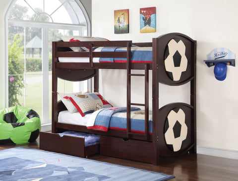 ACME All Star Soccer Twin/Twin Bunk Bed Espresso - 11954-Bunk Beds-HipBeds.com