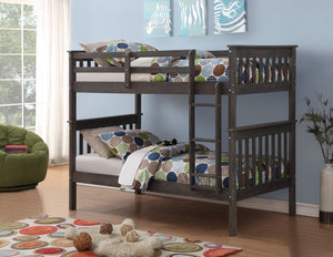 Donco Kids Twin/Twin Mission Bunk Bed Grey 120-3BG/TT-Bunk Beds-HipBeds.com