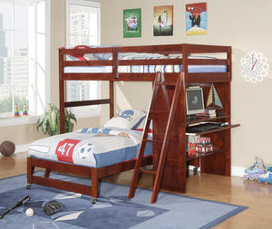 Donco Kids Loft/Desk Bed Cappucino 1201-CP-Bunk Beds-HipBeds.com