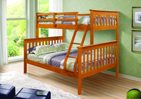 Donco Kids T/F Mission Bunk Bed Honey 122-3H-Bunk Beds-HipBeds.com
