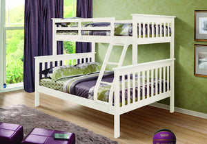 Donco Kids T/F Mission Bunk Bed White 122-3W-Bunk Beds-HipBeds.com