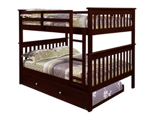 Donco Kids F/F Mission Bunk Bed Dark 123-3CP-Bunk Beds-HipBeds.com