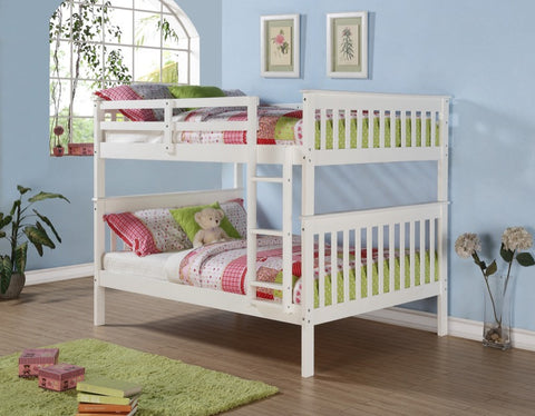Donco Kids Mission Bunk Bed White White 123-3W-Bunk Beds-HipBeds.com