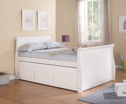 Donco Kids Sleigh Captains Bed White 125-FW-Bookcase Beds-HipBeds.com