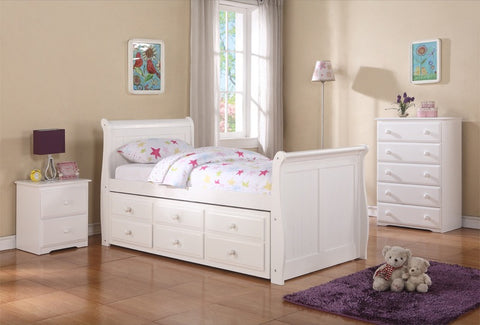 Donco Kids Sleigh Captains Bed White 125-TW-Bookcase Beds-HipBeds.com