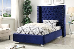 Meridian Aiden Navy Velvet Twin Bed - Aidennavy-T