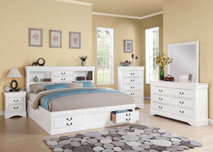 ACME Louis Philippe III - Eastern King Bed w/Storage White - 24487EK-Platform Beds-HipBeds.com