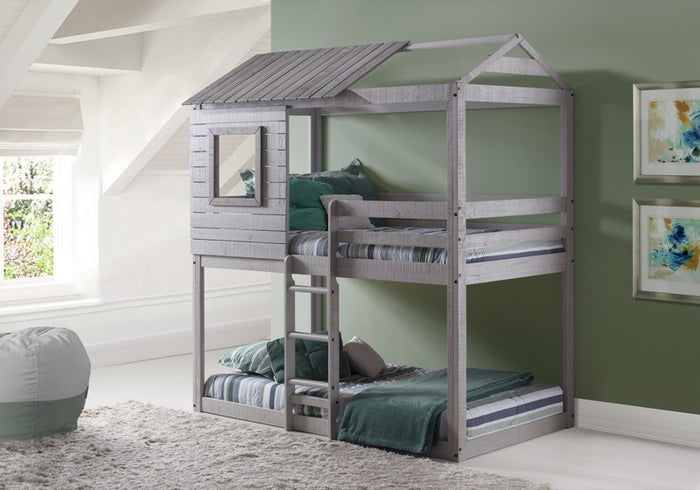 Donco Kids Deer Blind Bunk Loft Bed Light Grey 1370-TTLG