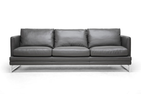 Baxton Studio Dakota Pewter Gray Leather Modern Sofa-Sofas-HipBeds.com