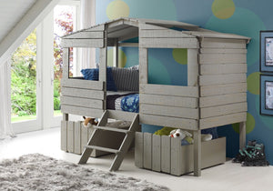 Donco Kids Twin Tree House Low Loft Bed Grey 1380-TLRG-Loft Beds-HipBeds.com