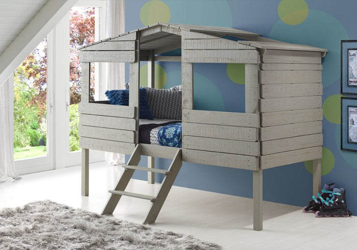 Donco Kids Twin Tree House Low Loft Bed Grey 1380-TLRG